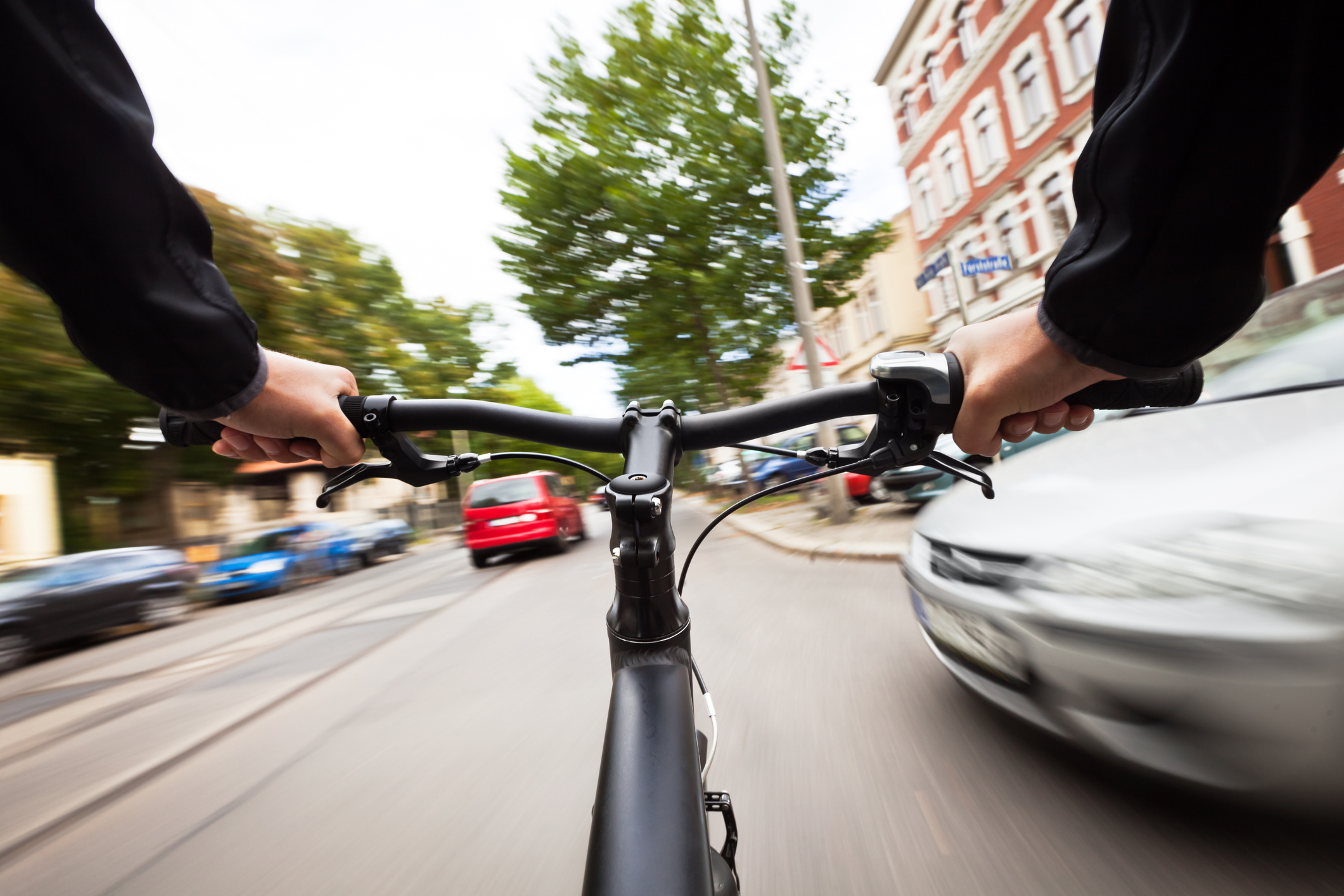 a car almost hitting a bicycle can lead to a bicycle accident