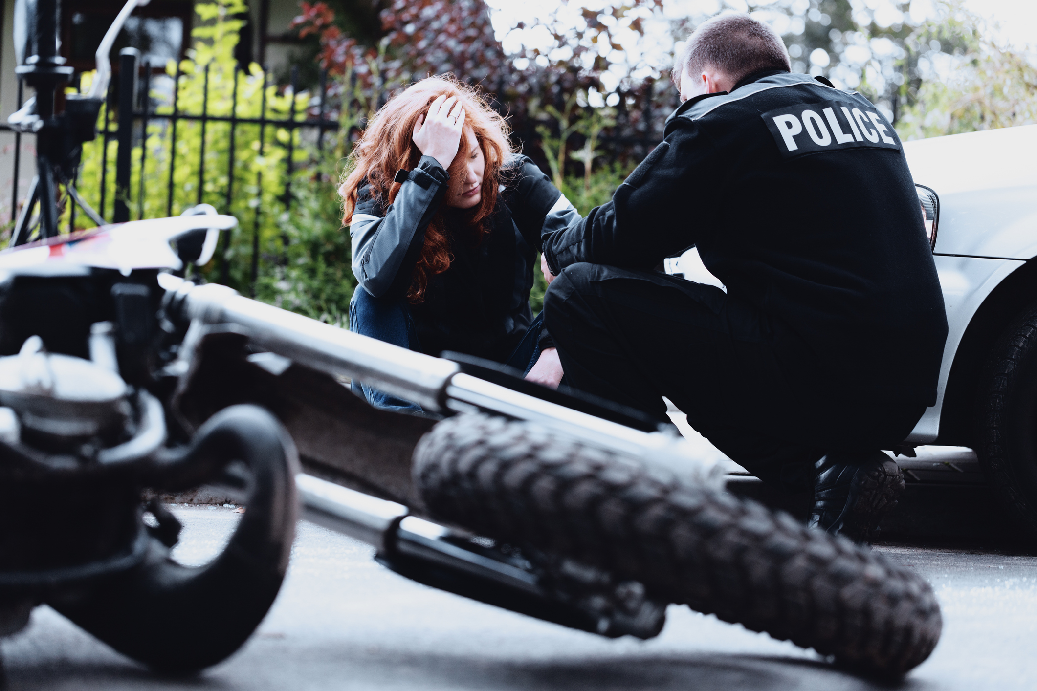 police interviewing a victim of a motorcycle accident